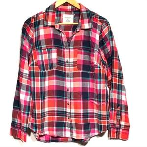 Sonoma Pink Plaid Flannel Button Down Long Sleeve